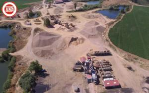 Vista aérea de planta de aglomerado